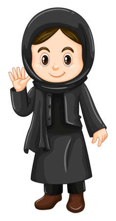 girl: Cute girl in black costume illustration Illustration