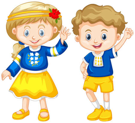 wave: Boy and girl from Ukraine illustration