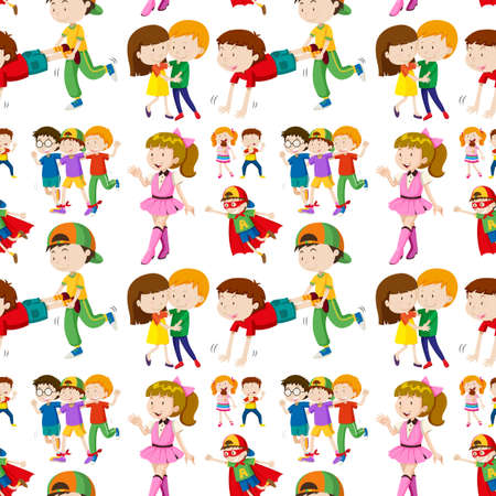 youngster: Seamless background design with many children illustration