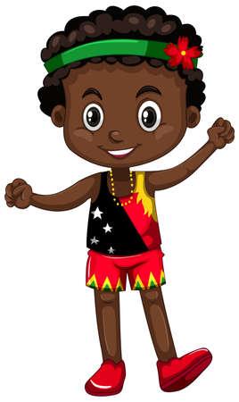 Papouasie-Nouvelle-Guinée avec une illustration de visage heureux