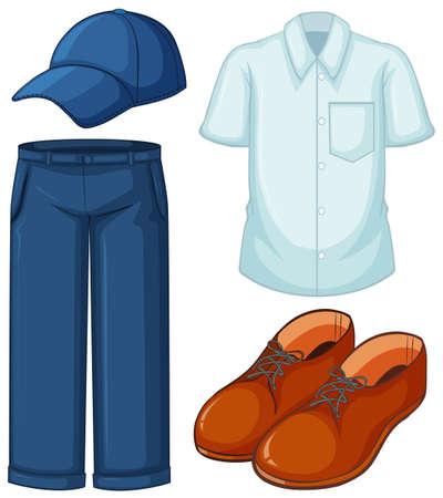 白のシャツとブルー ジーンズのイラスト