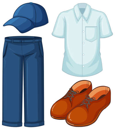 White shirt and blue jeans illustration Stok Fotoğraf - 80088965