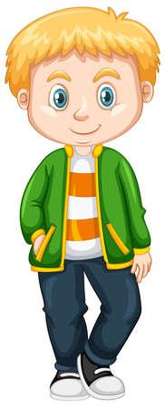 blonde teenager: Cute boy in green jacket illustration