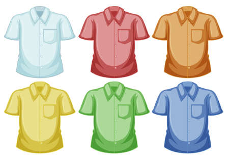 blue green background: Shirt templates in different colors illustration