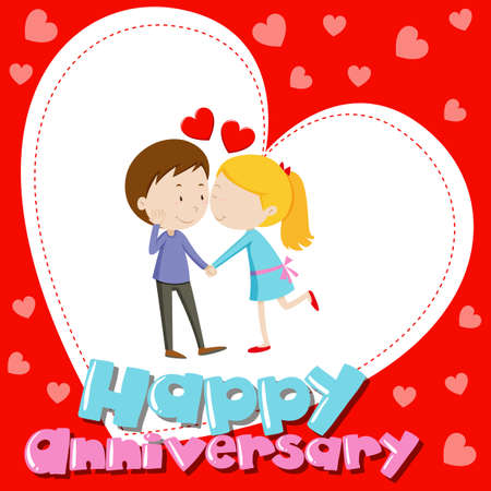 Anniverary card template with love couple kissing illustration