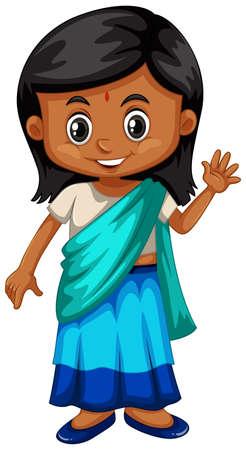 SriLanka girl in traditional costume illustration
