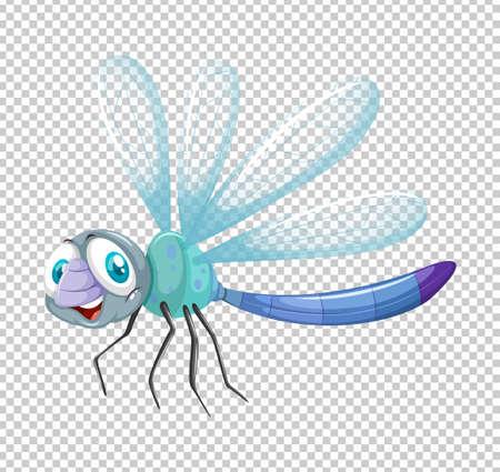 image: Dragonfly in blue color illustration Illustration
