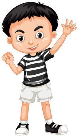 Boy wearin black shirt and white shorts illustration