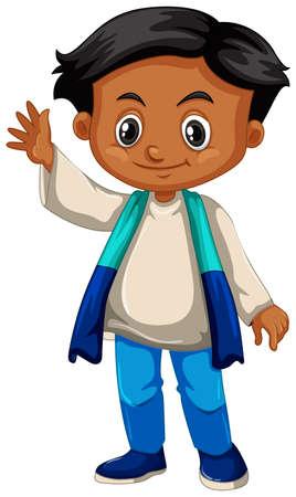 happy: Little boy waving hand on white background illustration