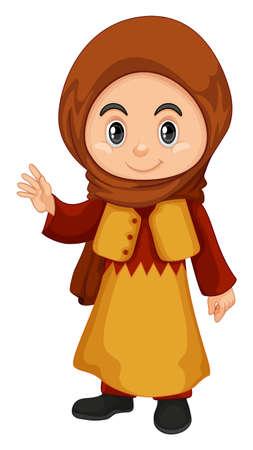 Cute girl in Qatar costume illustration Illustration