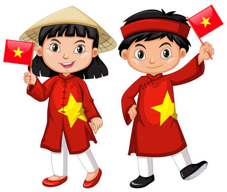 Vietnamese girl and boy in red costume illustration Ilustração