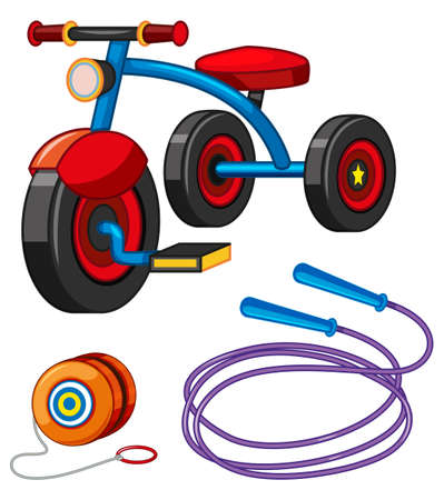 Tricycle and other toys illustration Illustration