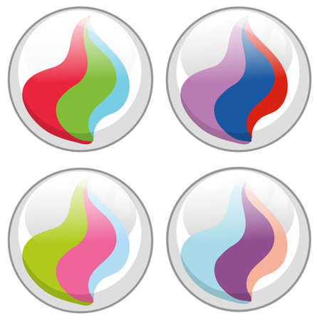 Four designs of glass marbles illustration