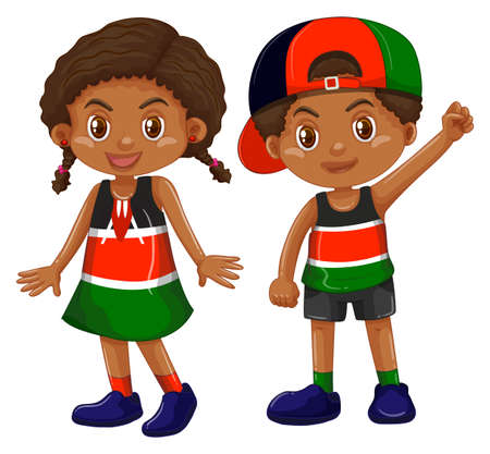country: Girl and boy from Kenya illustration Illustration
