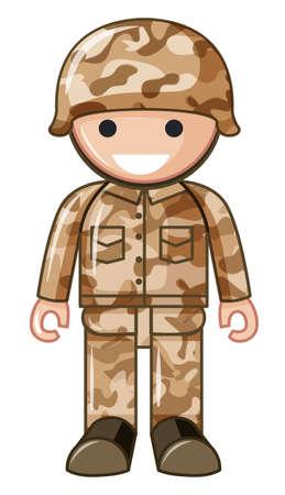 plastic soldier: Soldier toy in brown uniform illustration Illustration