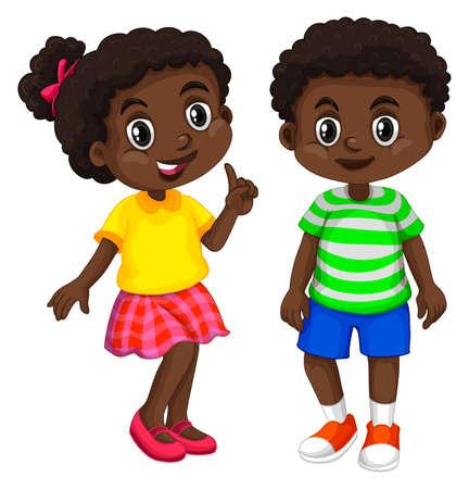 happy people: Boy and girl from Haiti illustration Illustration