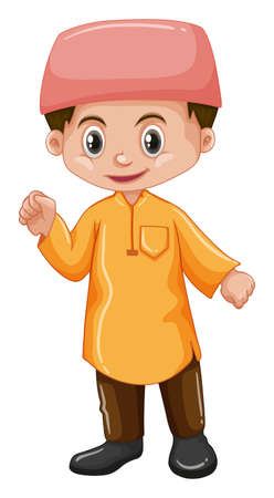 Afghanistan boy in yellow shirt illustration Illustration