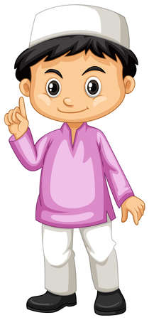 happy people: Indonesian boy in pink shirt illustration