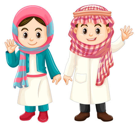 Boy and girl in Kuwait costume illustration