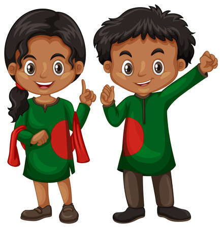 Bangladesh boy and girl in tradition outfit illustration Illustration