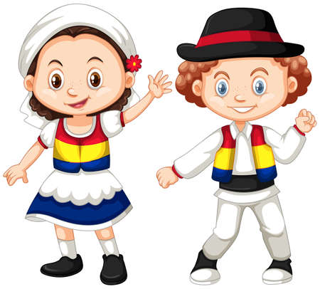 Romania children in traditional outfit illustration Иллюстрация