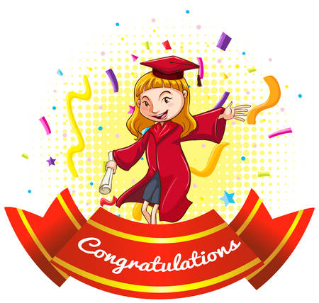 celebration party: Congratulations sign with girl in graduation gown illustration Illustration
