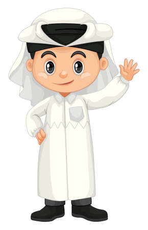 Boy in Qatar costume waving hand illustration