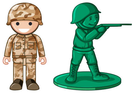 warriors: Two designs of plastic toy soldier illustration