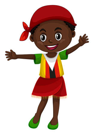 Little girl in Zimbabwe clothes illustration