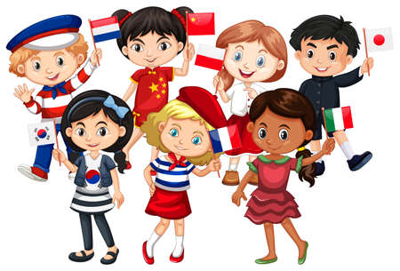 Children come from different countries illustration