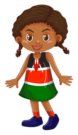youngster: Little girl in red and green dress illustration Illustration