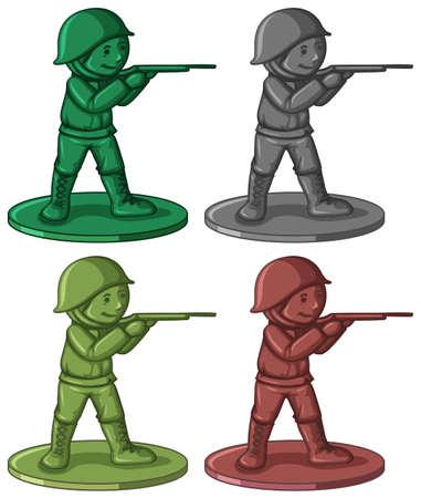 plastic soldier: Plastic soldier toys in four colors illustration
