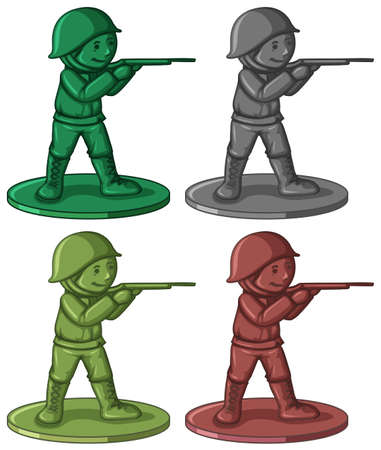 Plastic soldier toys in four colors illustration