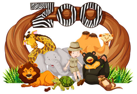 Zookeeper and wild animals at zoo entrance illustration Illustration