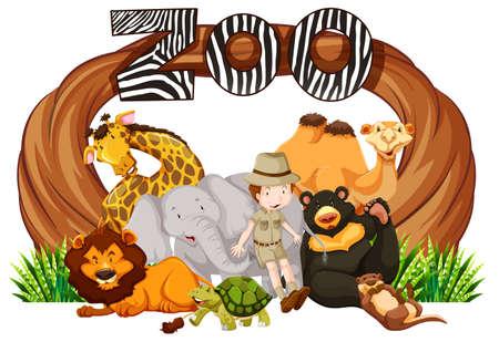 animaux du zoo: Zookeeper et animaux sauvages à l'entrée de zoo Illustration Illustration