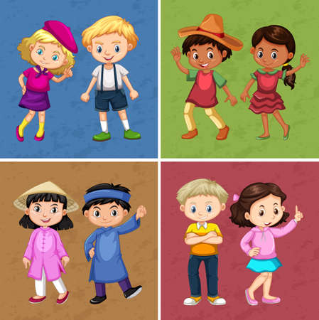 image: Four couple of kids in different costumes illustration