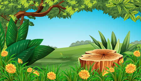 green environment: Scene with stump tree and field illustration