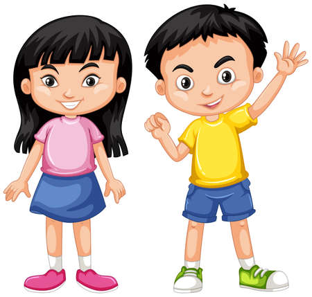 wave: Asian boy and girl with happy face illustration