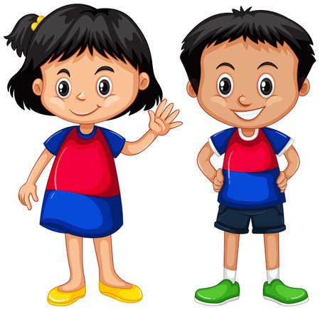 boy smiling: Cambodian boy and girl smiling illustration