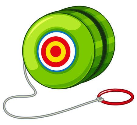 play yoyo: Green yoyo with red ring illustration Illustration