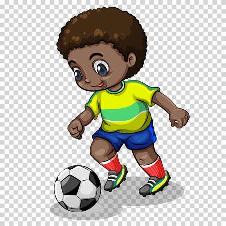 Football player playing football on transparent background illustration Illustration