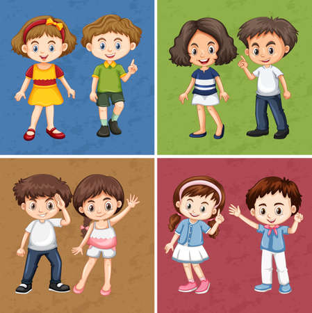 youngster: Children on different color background illustration
