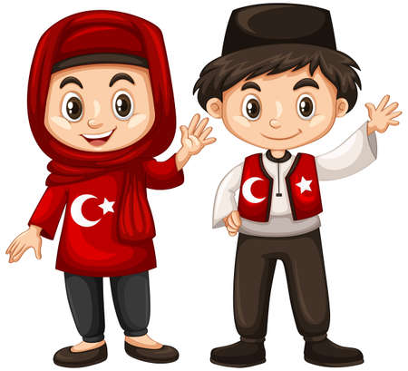 happy people: Boy and girl in Turkey costume illustration