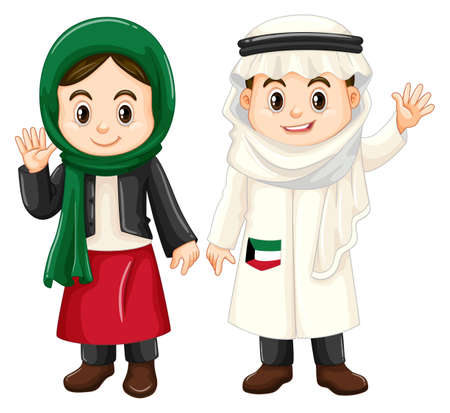 happy: Boy and girl from Kuwait waving hands illustration