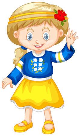 wave: Girl in Ukraine costume waving hand illustration