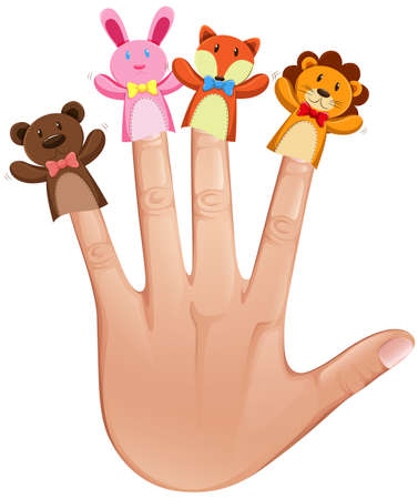 puppets: Animal finger puppets on human hand illustration