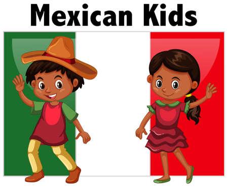 image: Mexican kids with flag background illustration Illustration