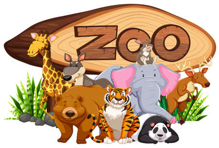 Wild animals by the zoo sign illustration Illustration