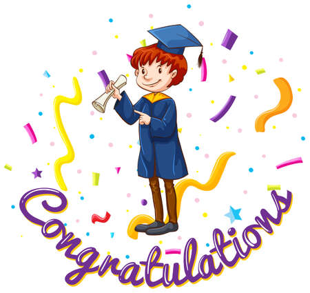 man: Congratulations card template with man in graduation gown illustration