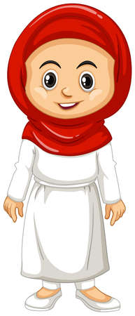 Muslim girl in red and white clothes illustration Illustration